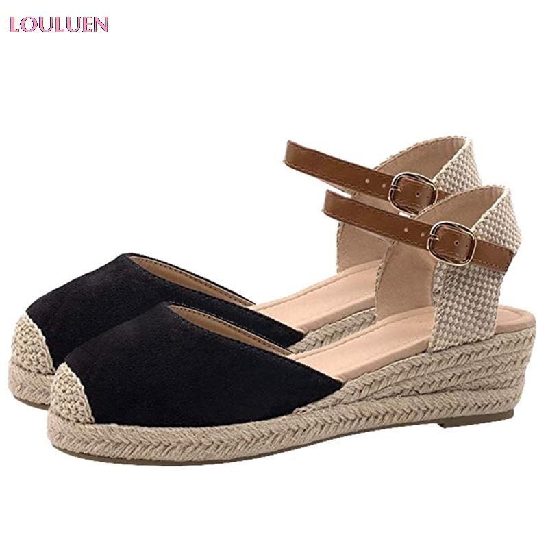 LOULUEN 2021 Sandals Women Buckle Ankle Strap Sandals Wedges Summer Weaving Breathable Shoes National Shoe Plus Size 43 #0713