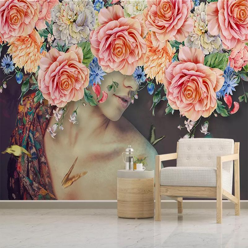 Custom mural wallpaper room modern mano dipinta a mano acquerello bellezza floreale pittura murale decorativo carta da parati per le pareti camera da letto 3D