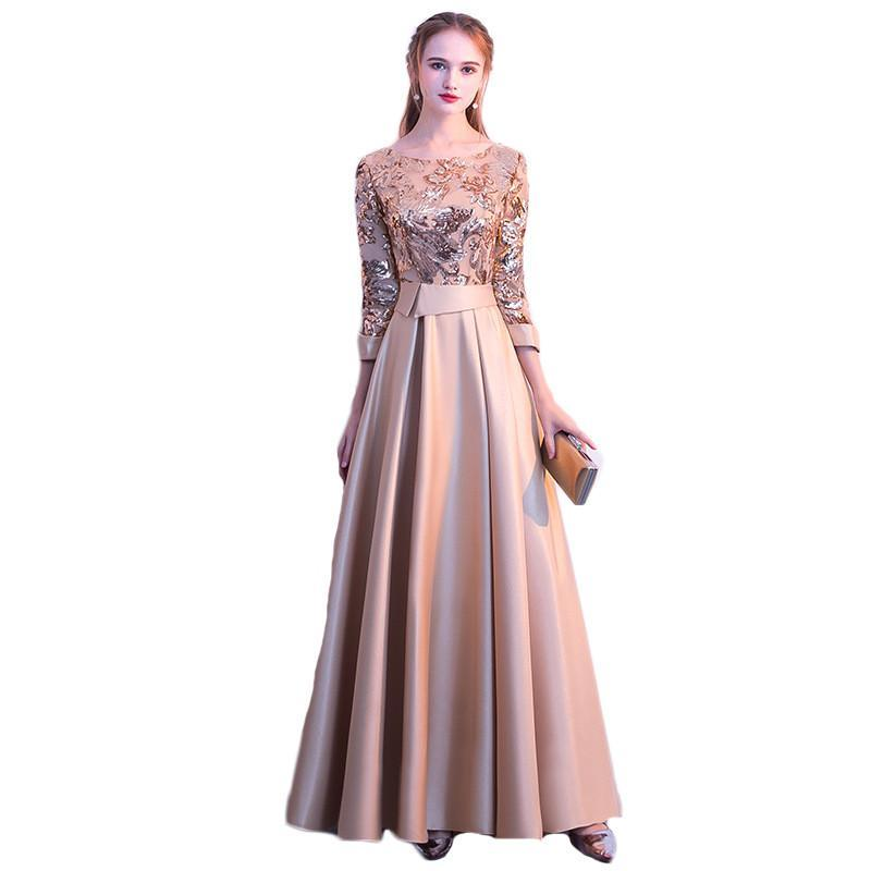 Party Dresses Evening Long Dress Spring Summer Sequined Prom Slim Elegant Plus Size Soiree Embroidered Gowns Female LR1519