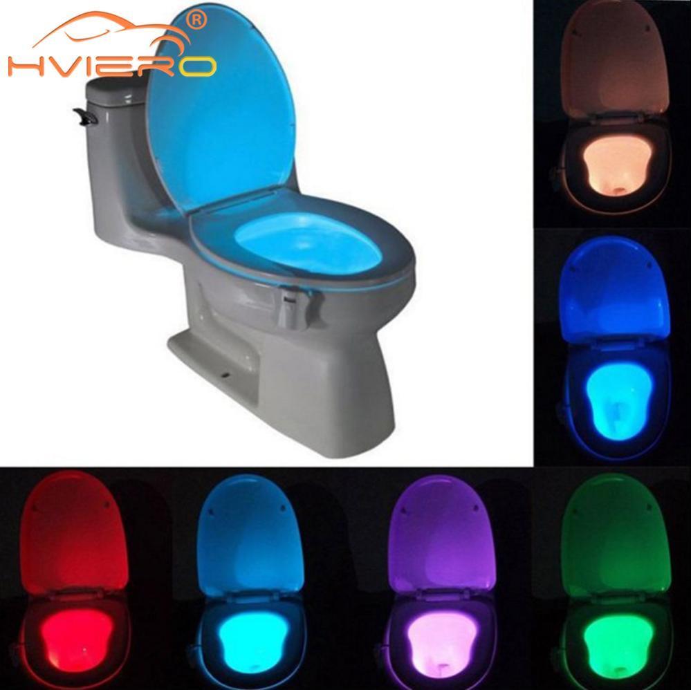 PIR مرحاض الصمام مقعد الليل ضوء luminaria مصباح مرحاض الذكية استشعار الحركة 8 ألوان ماء الخلفية لل وعاء