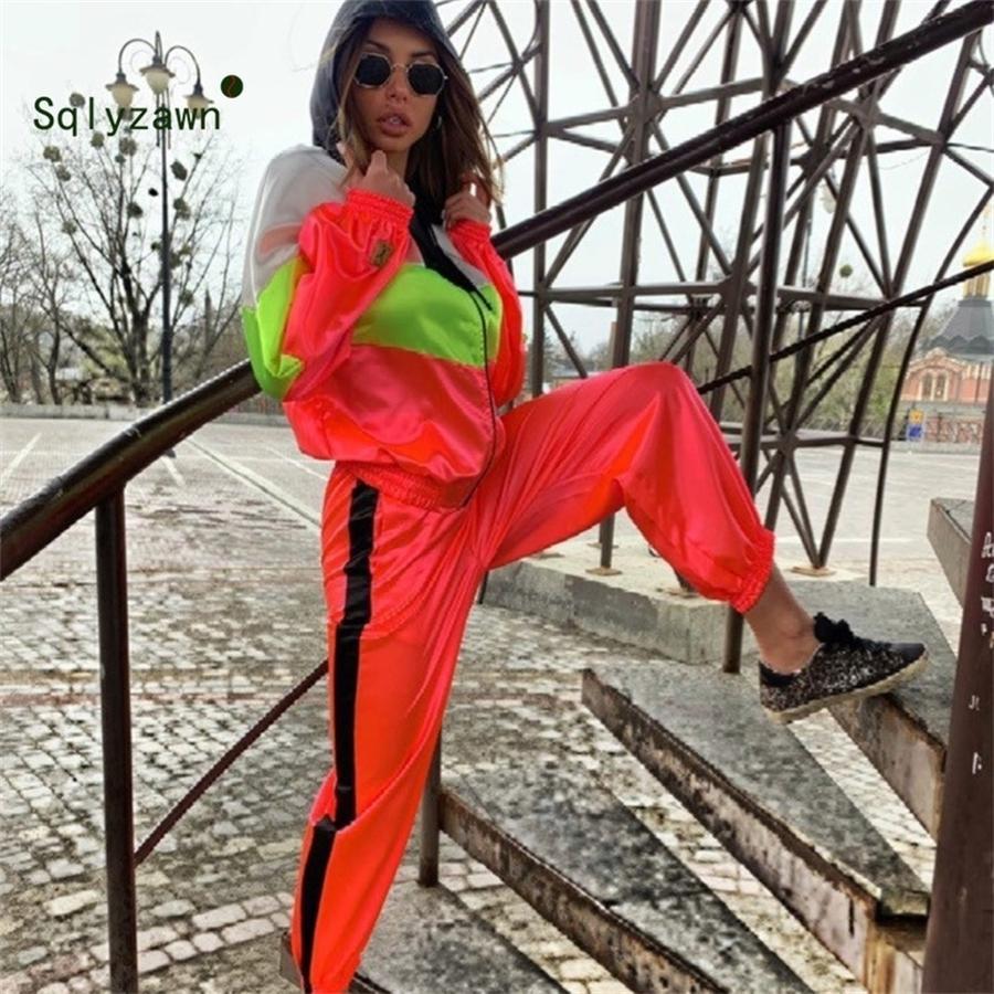 Neon Patchwork Sportwear Kadınlar İki Parçalı Kıyafetler Kapşonlu Uzun Kollu Ceket Üst + Pantolon Streetwear Eşofman Kadın Eşleştirme Setleri T200810