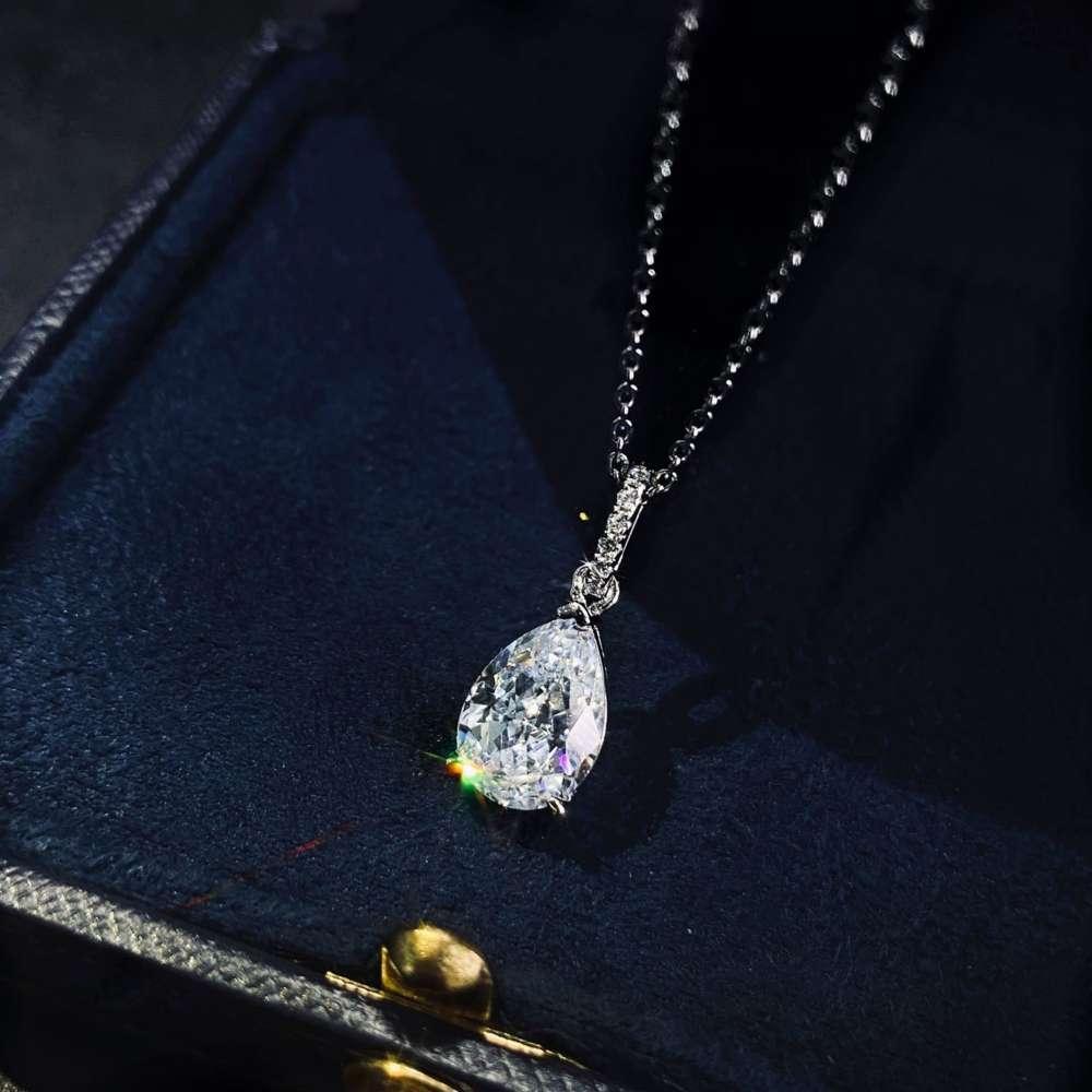 HBP moda shipai jóias gota de água gota gelo corte pingente de platina feminina personalidade simples s925 esterlina colar de prata cruz 40 + 5cm