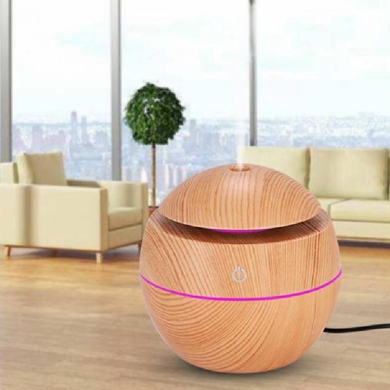 Mini umidificador de ar ultrassônico usb aroma difuser madeira grão levou noite luz eléctrica Óleo essencial aromaterapia casa, bom para o corpo