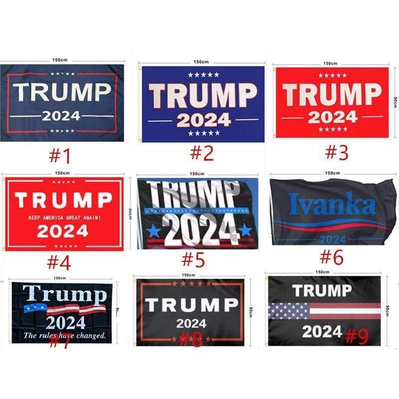 Bandeira de Trump 2024 Bandeira Eleitoral Bandeira Donald Trump Bandeira Mantenha a América Grande Novas Ivanka Trump Flags 150 * 90 cm 13 estilos