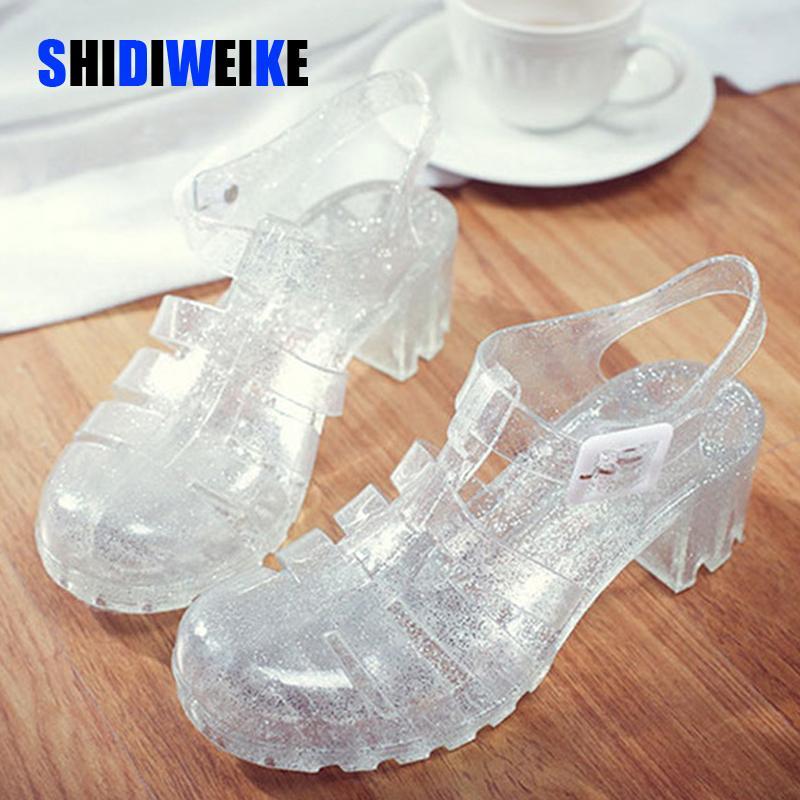2021 Mujeres de verano Zapatos de jalea para mujer Sandalias Square Tacones Altos Transparente Plataforma Sandalia Dama Bling Plata Jelly Shoes Sandalias 210310