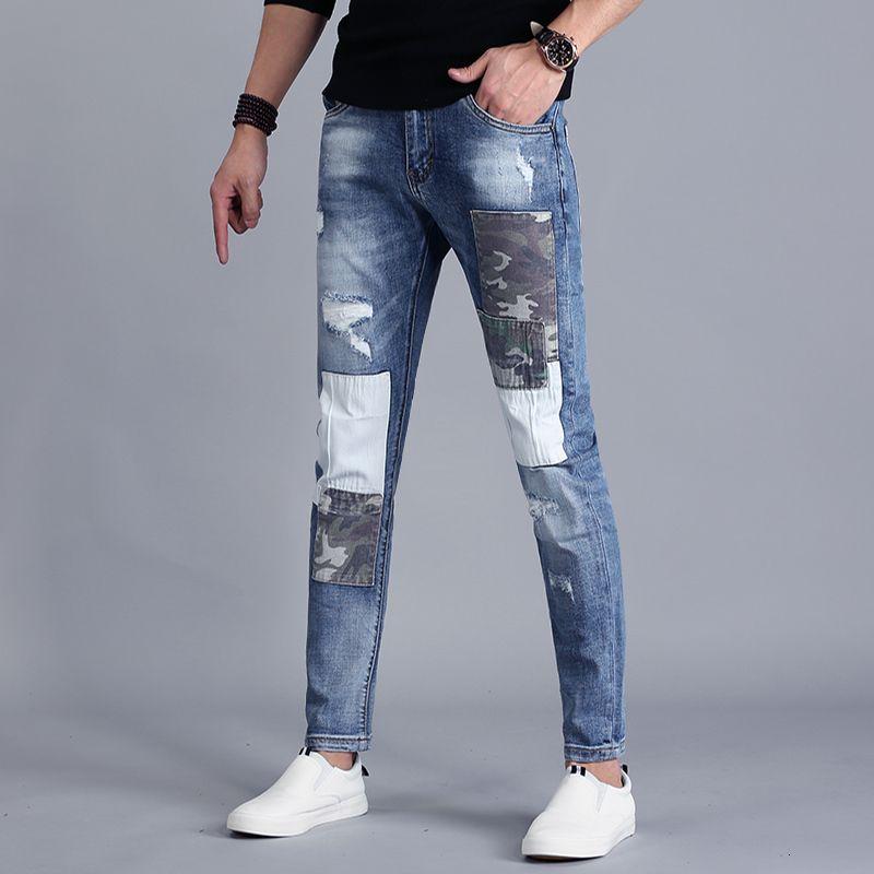 Yama Yaz Yırtık Kot Erkekler Streetwear Mavi İnce Patchwork Streç Denim Pantolon 2021 Moda Slim Fit Sıkıntılı Tro FVZV