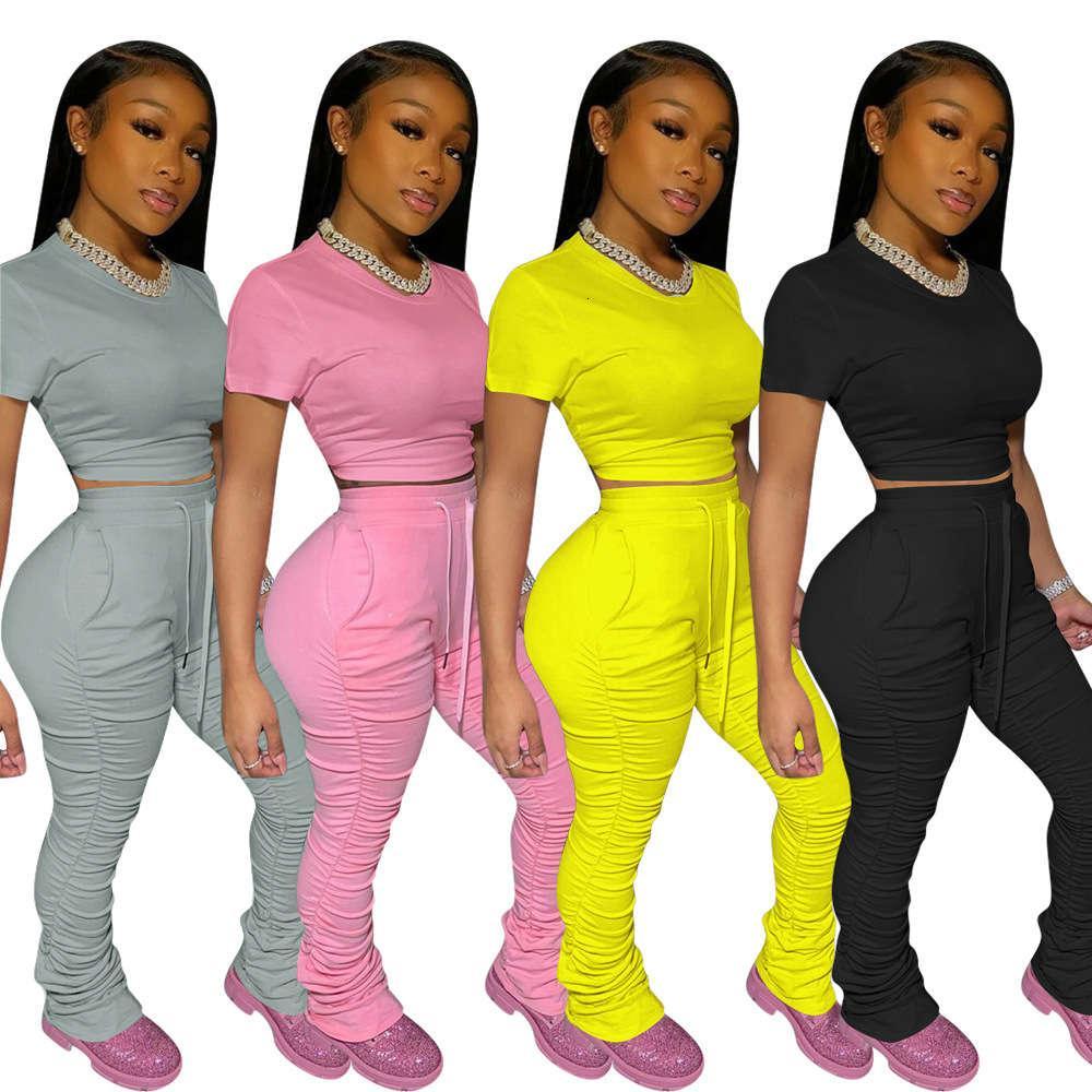Женщины Couscusuit O-Hee с короткими рукавами Урожайные вершины Штабели колокол Нижние Джоггерные Спредильные штаны Костюм Два Части Устанавливает Спортивные наряды 2020