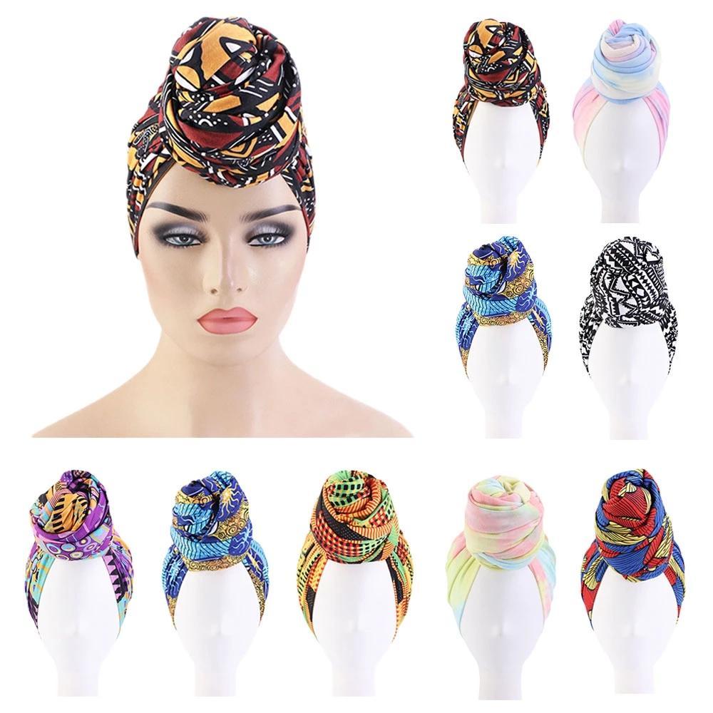 Donne africane testa turbante cotone hijab bandana cap boho stampa cappello beanie headwrap musulmano knot islamico knot torsione chemio perdita di capelli caps