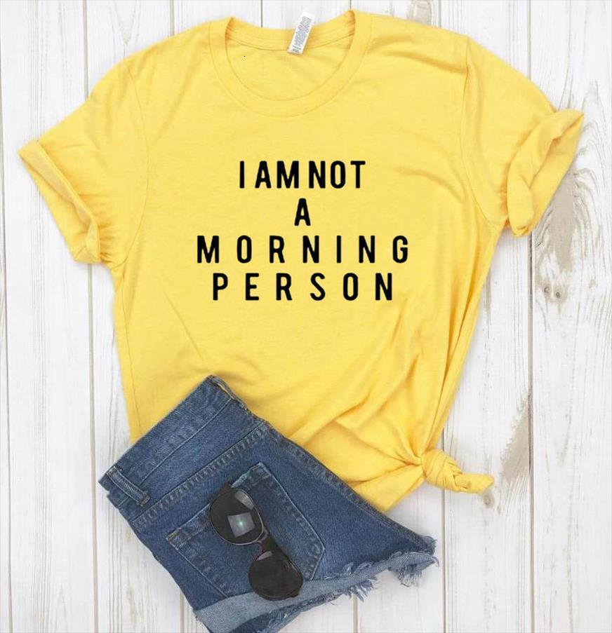 And Women I Am Not Mens T Shirt Morning Person Letters Print Short Sleeve O Neck Loose Ladies Tee