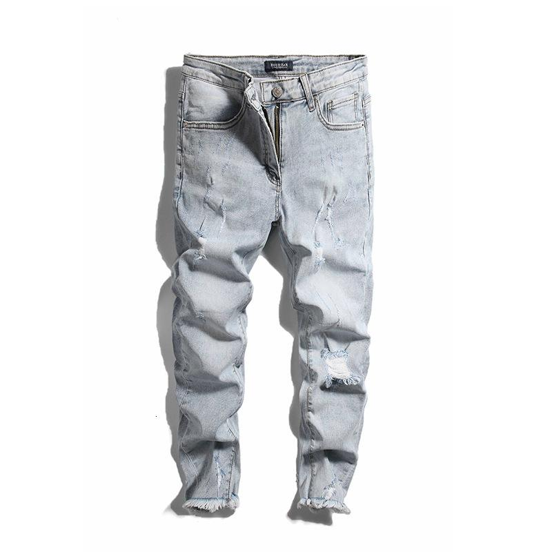 Free Shipping Jeans 2019 Light Color Hole Stretch Smart Feet High Quality Four Seasons Pants