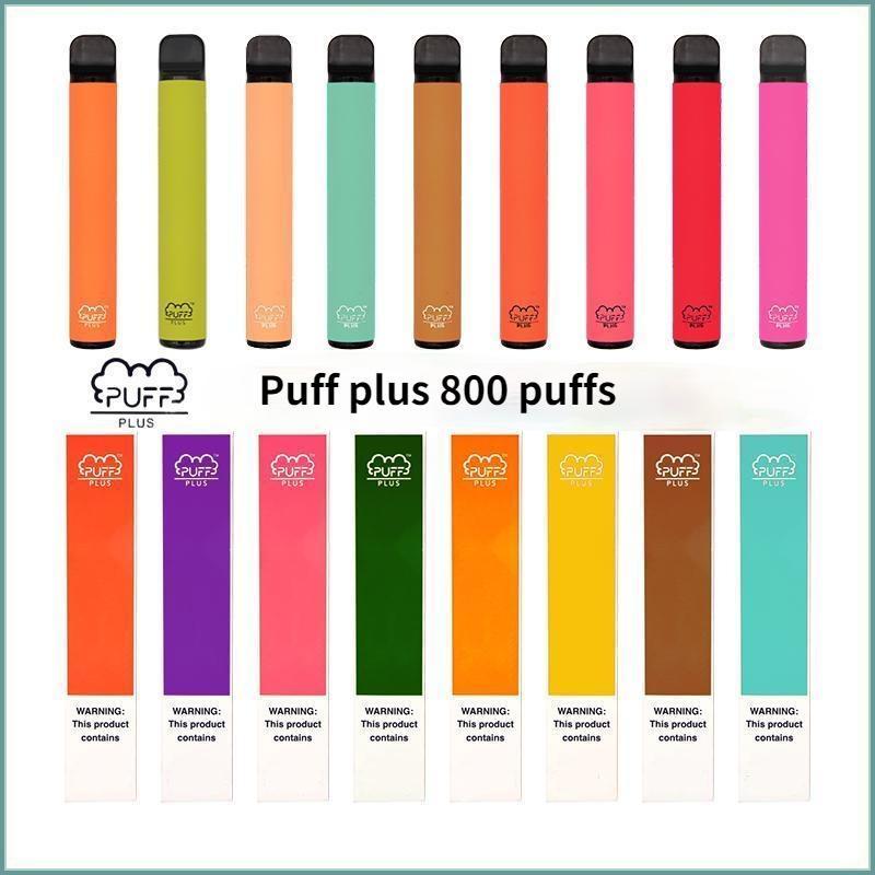 퍼프 바 플러스 일회용 vape 펜 전자 담배 스타터 키트 장치 포드 800 퍼프 3.2ml 사전 채워진 550mAh 배터리 80 색 100 % 원래 증기 도매 DHL