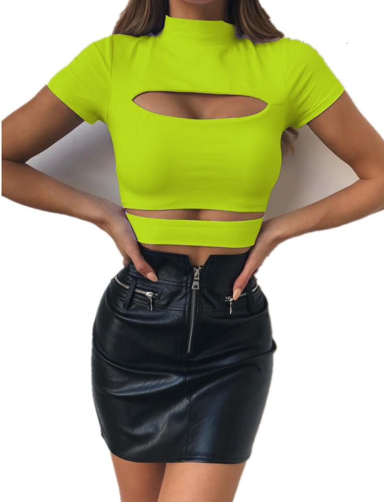 2019 Neue Top Damen T-Shirt Feste Hälfte High Collar Hohlspleiß Kurzarm