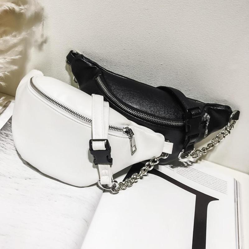 Punk Style Casual PU Leder Fanny Pack Taille Tasche Frauen Reißverschluss Schulter Brust Bauch Band Gürtel Handtasche Crossbody Handtasche