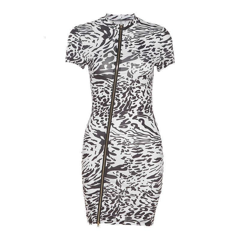 Casual Dresses Wind 2021 Summer Women's Sexy Bag Hip Short Sleeve Double Zipper Slim Fit Women Dress Fashions Clothing Ladies