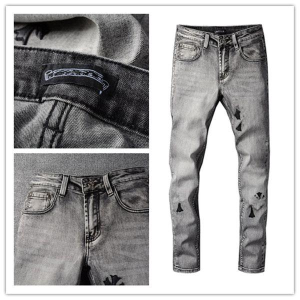21ss Men Designer разорвал повседневные джинсы скинни мода моды мужские джинсы тонкий мотоцикл мото байкер причинно-следственные мужские джинсовые брюки хип-хоп мужские джинсы 28-40