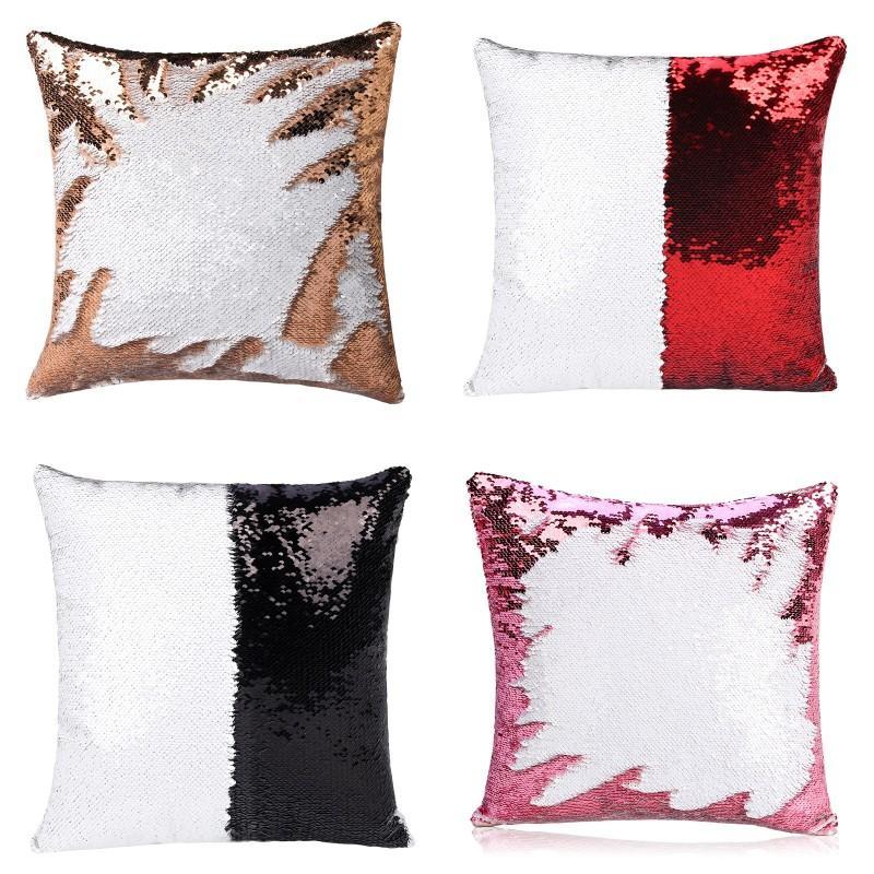 2020 40X40cm Sequins Mermaid Pillow Case Sublimation Cushion Cover Hot Transfer Printing DIY Decorative Sofa Pillows Case 46 V2