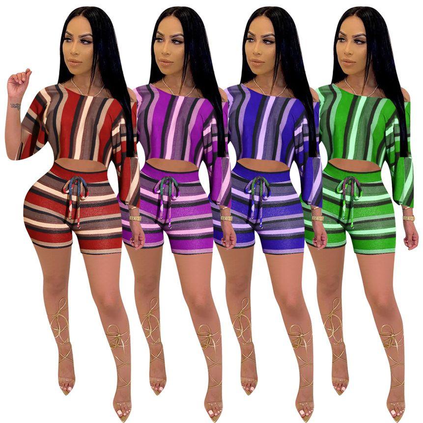 Plus size 5XL Women Tracksuit shorts 2 piece sets short sleeve t shirt+short pants summer clothing sports outfits striped jogger sets 4436