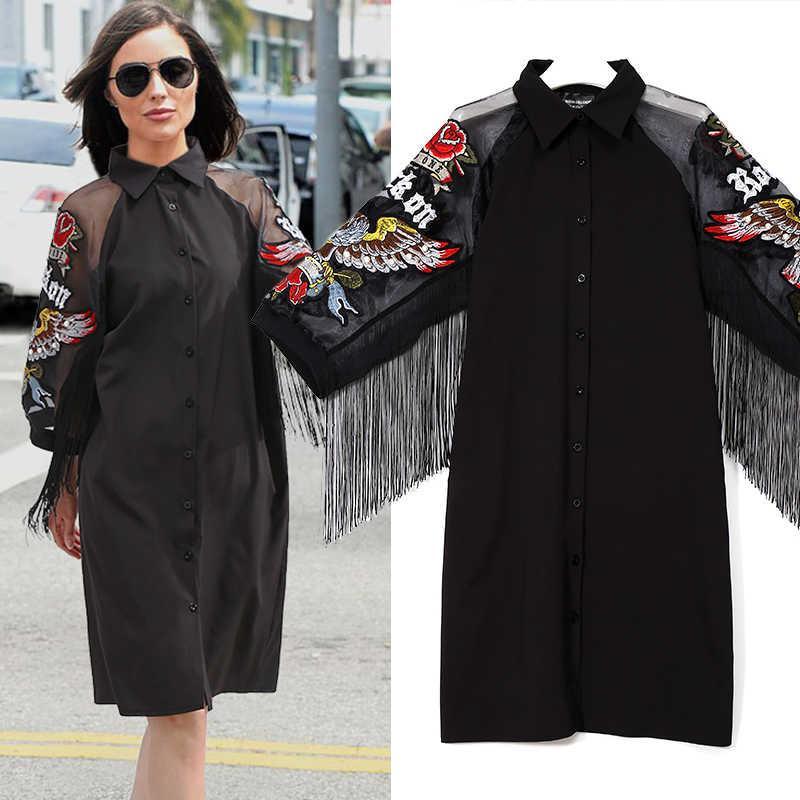 Casual Plus Tize Negro New Camisa Vestido Mujer 3/4 Malla Mouwen Eagle Tarjeta de águila franja Dames Midi Vestido de fiesta recta Robe 3398