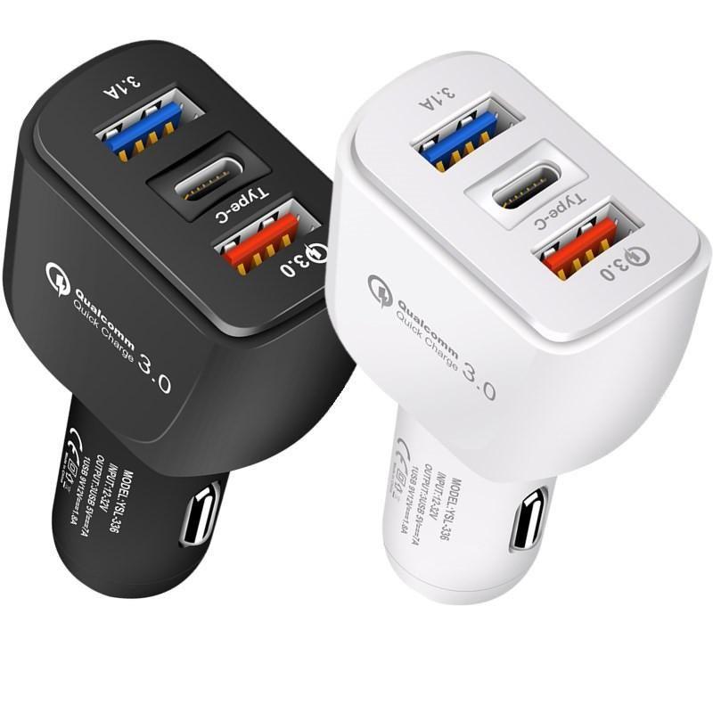 QC3.0 빠른 빠른 충전 3 in 1 유형 C 듀얼 USB 포트 자동차 충전기 자동 전원 어댑터 삼성 HTC GPS PC PC MQ100