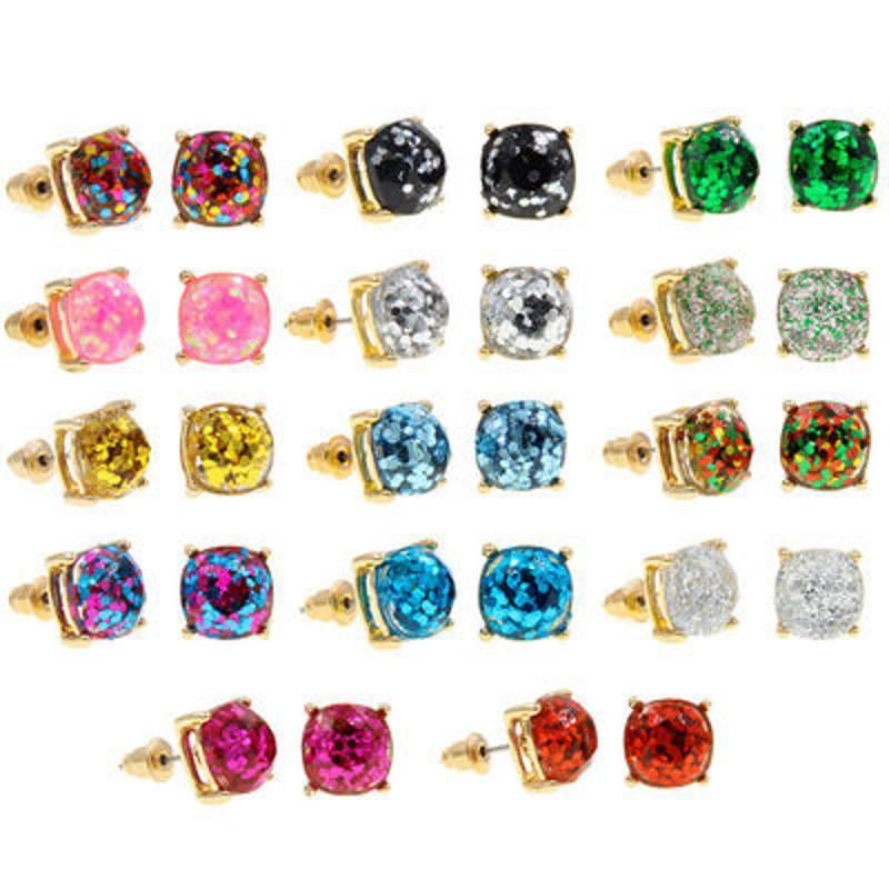 Design quadrato glitter dolce orecchino per orecchini, party carino orecchini, elegante anello dell'orecchio fabbrica 629 T2