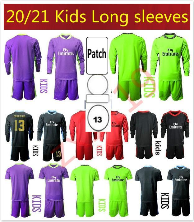 NUEVO 2020 2021 niños Soccers Jerseys Mangas largas Kit Kit de niños Camisa de fútbol 20 21 1 Navas 13 Courtois Portero Chicos Uniformes de fútbol juvenil