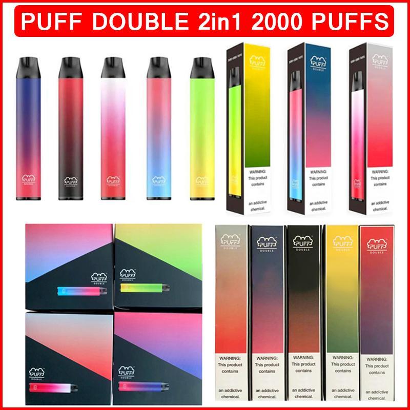 퍼프 더블 2000 퍼프 전자 담배 일회용 vape 펜 장치 900mAh 배터리 6ml 포드 액체 카트리지 vapes ecigs 기화기 퍼프 바 플러스