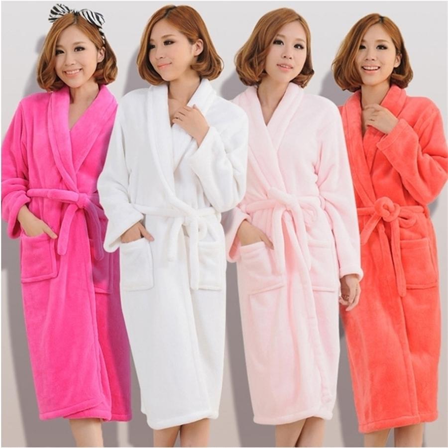 Kadın Erkek Flanel Banyo Robe Pijama Sonbahar Kış Katı Peluş Çift Bornoz Kalın Sıcak Kadın Robe Dropshipping T200110
