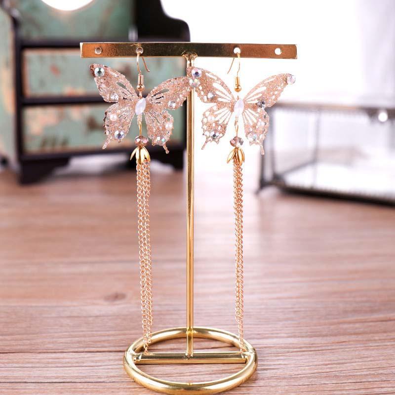 Vintage Crystal Tassel Diadem y Pendiente Dorado Color Mariposa Hecho a mano Tiaras y Crown Bodas Accesorios para el cabello Joyas JL JL