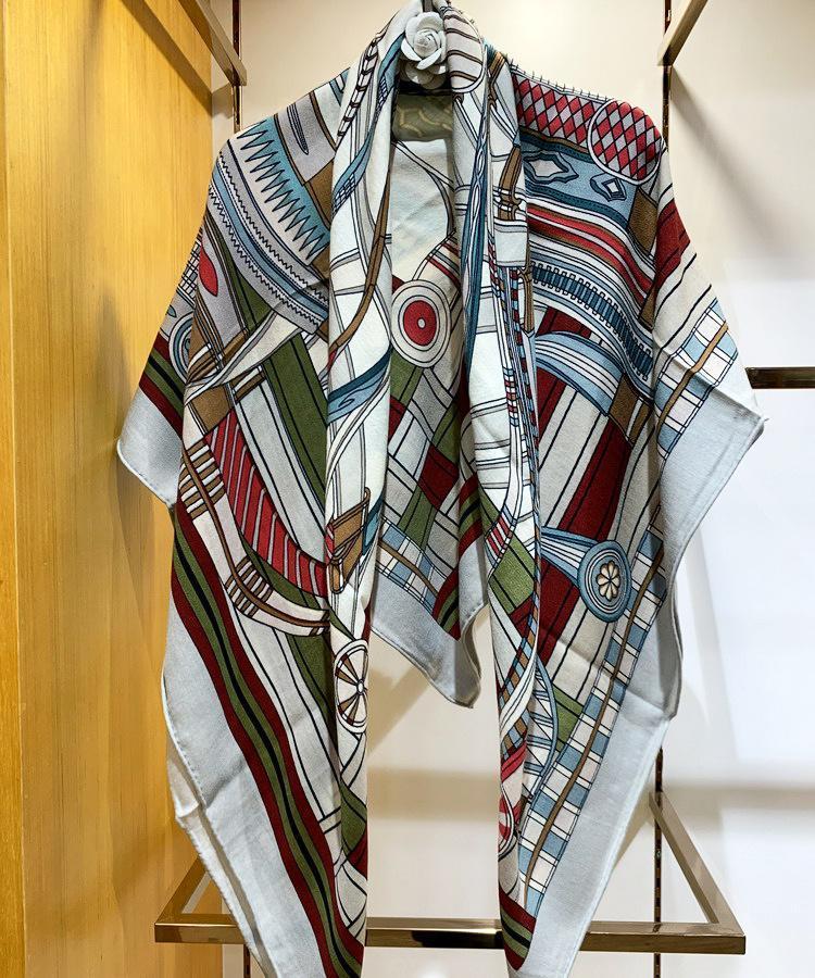 Lenços moda rotação arte imprimir senhora de alta qualidade seda cashmere elegante lenço design headband quadrado quente xale sr5