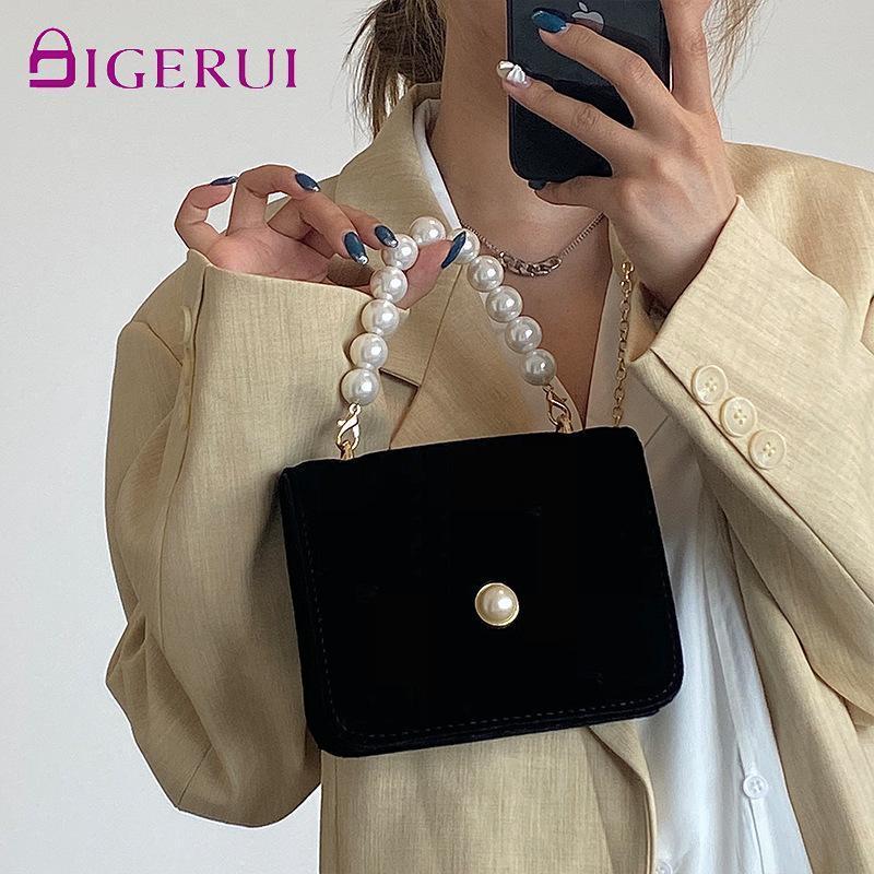 Fiesta Retro elegante bolso de las mujeres con bolso Digerui Cadena de lujo Pequeño Suede Messenger Hombro Boda Pearl Negro Ngrao