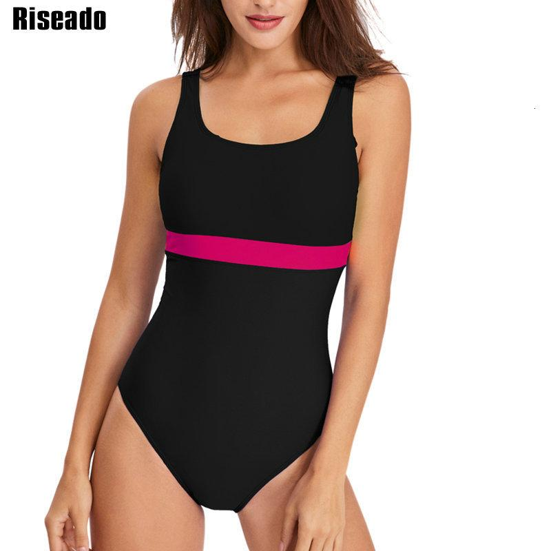 Riseado Sport One Piece Swimsuit 2021 Competition Swimwear Patchwork Racing Swimming Suit for Women U-back Bath Suits