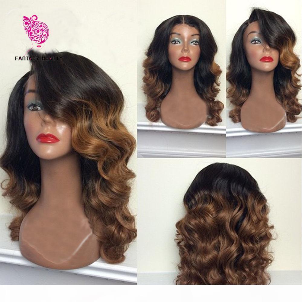 Pelucas de cabello humano de Ombre sin glanas # 1b # 8 Pelucas de pelo humano con encaje de dos tonos Ola de cuerpo de encaje completo con nudos blanqueados envío gratis