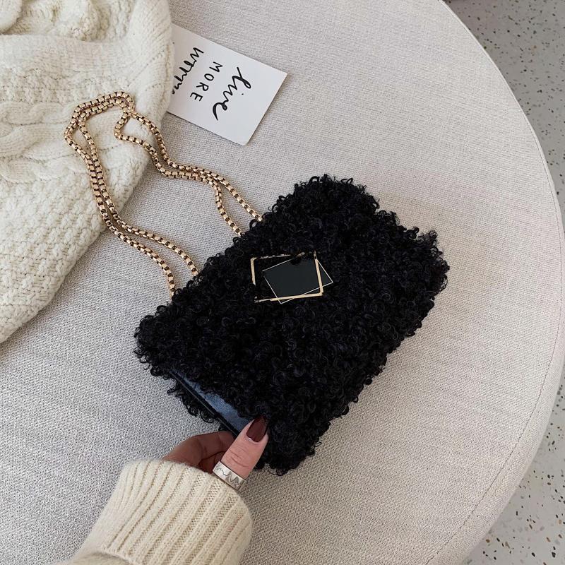 Элегантная женская квадратная сумка поперечины 2020 зима новое качество мягкие плюшевые женские дизайнерские сумки цепь плечевой сумка