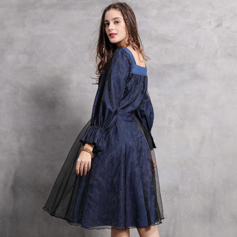 Женское платье 2021 Yuzi.my boho Новые оргнц Платья длинные флей-рукава Squre Collr Vintge Вышивка Vestidos 82131 Vestido