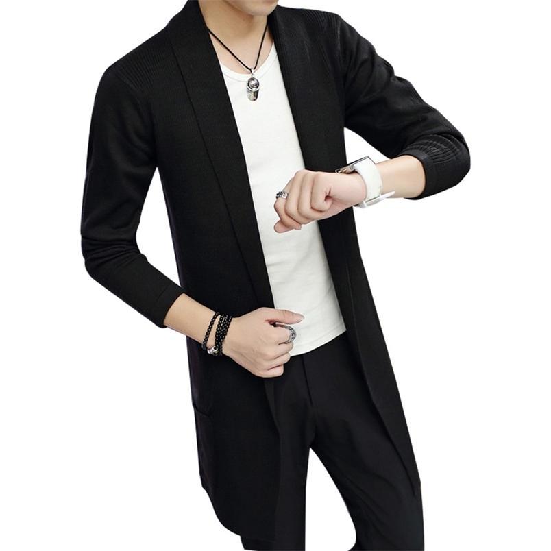 Giacca di cardigan a maglia da uomo in autunno inverno in inverno - Giacca Cardigan a maglia-Soleving Tinta unita Trendy 210812