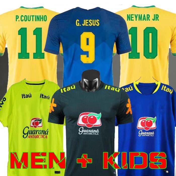 البرازيل 2020 2020 2020 2021 Camiseta de Futbol Paqueta Neres Coutinho Football Shirt Fridcino يسوع Soccer Jersey Marcelo 2021 Mailleot de Foot Brasil Men + Kids