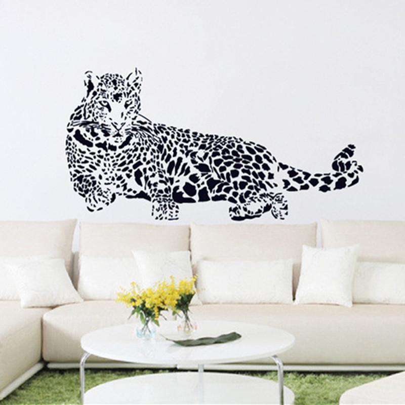 Stickers muraux en PVC noir Cheetah Leopard 3D Decals muraux amovibles Home Decor Stickers Livraison Gratuite 210308