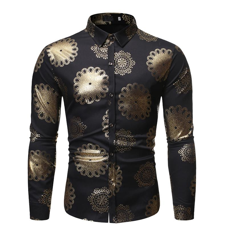 남자 버튼 아래로 shinny shirts 남성 금 도금 밤 클럽 황금 꽃 인쇄 세련된 우수한 슬림 한 롱 슬리브 파티 비즈니스 셔츠 남성 A12