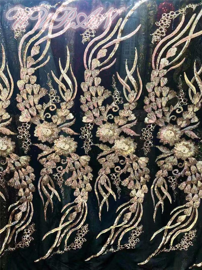 Fita ouro bordado tecido tulle lantejoulas de alta qualidade vestido de noiva