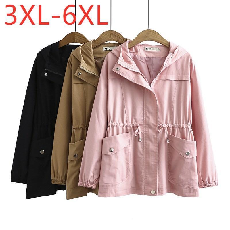여성용 재킷 2021 여성용 봄 가을 플러스 사이즈 폴딩 재킷 여성용 큰 느슨한 긴 소매 핑크 포켓 지퍼 코트 3XL 4XL 5XL 6XL