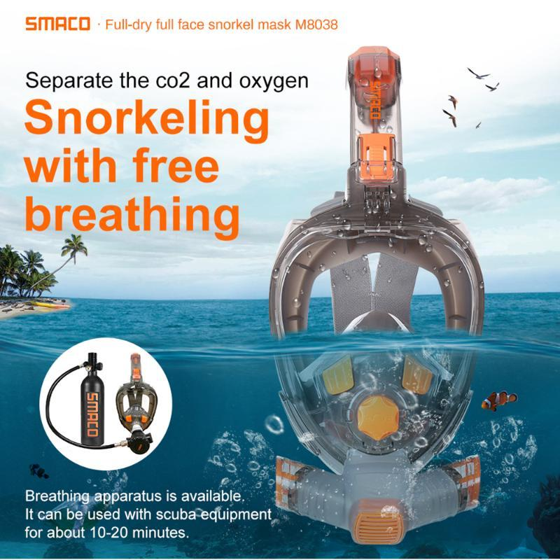 SMACO Full Face Scuba Diving Mask for Adult Anti Fog Goggles Underwater Wide View Foldable Transparent Snorkel Swimming Mask