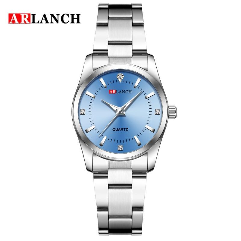 Armbanduhren arlanch edlessteel quarz 3bar wasserdichte koreanische mode frauen watch diamant set luxus auto datum einfache edelstein steine allo
