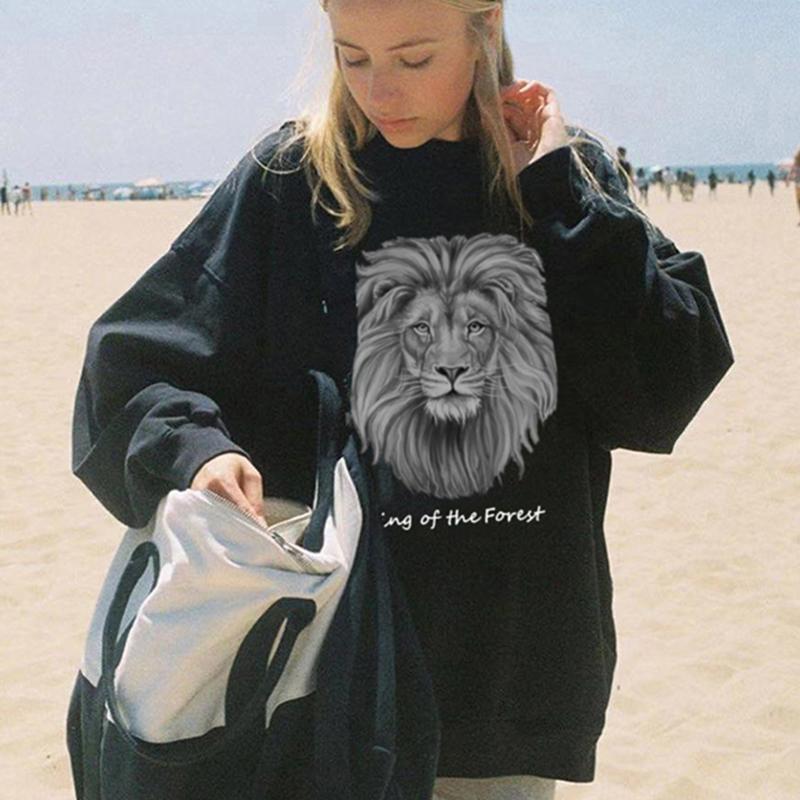 2021 Новая Черная Льва Письмо Печать Crewneck Толстовка Уличная Одежда Пуловеры Осенние Старинные Толстовки Женщины Американский стиль 8T2N