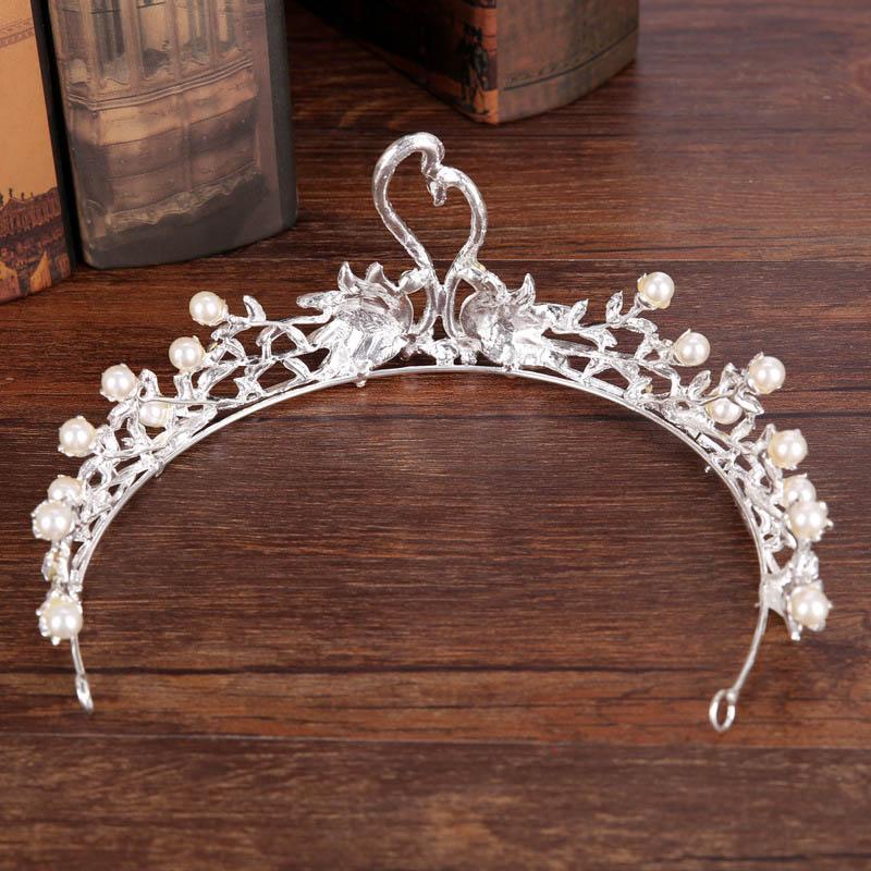 Barroco Color Plata Rhinestone Swan Crown Tiaras Pearl Nupcial Diadem Diadema DIEADA MUJER PAGEANT BODA Accesorios para el cabello Joyería
