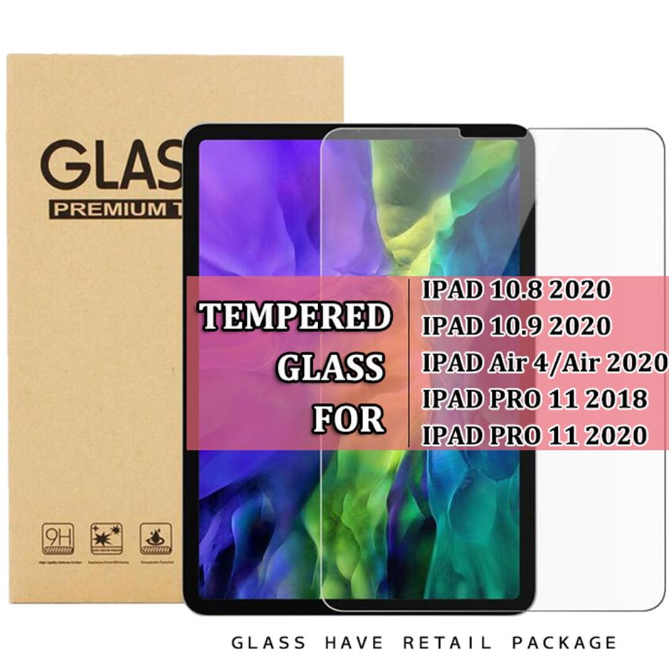 For ipad 10.8 2020 10.9 Air 4 air4 ipad pro 11 2018 ipad pro 11 2020 9H Clear Tempered Glass tablet Screen Protector film with retail packag