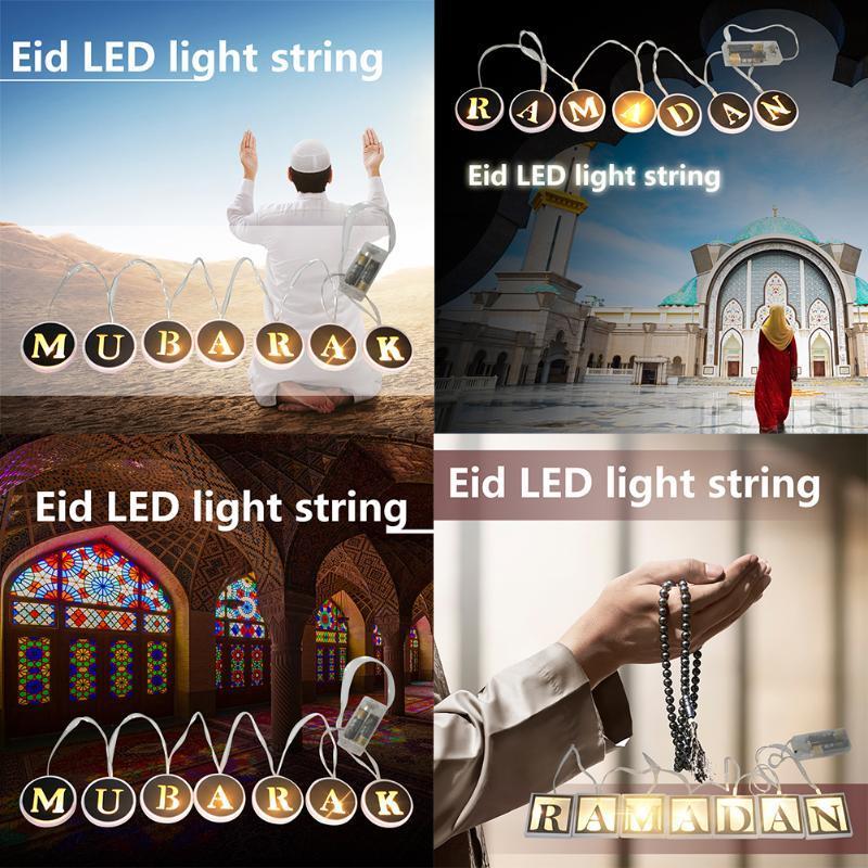 String Light Ramadan Lamp Muslim Islamic Eid Wood LED Eid Al-Fitr Ramadan Mubarak Wooden DIY Plywood Decoration Lamp