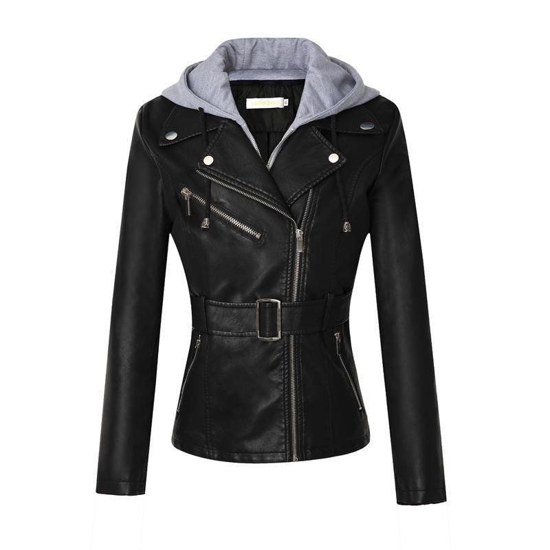 Femme's Cuir Faux Automne Costune Collier Capuche PU Veste PU Femelle Noir Slim Courte Moto Courticulaire Fermeture éclair