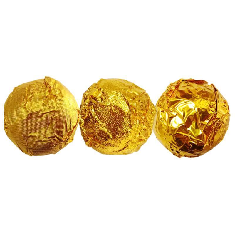 200 stücke Aluminiumfolie Papier Goldfolie Papier Umwickeln Geschenkpaket Orange Peel für Verpackung Schokolade (Golden)
