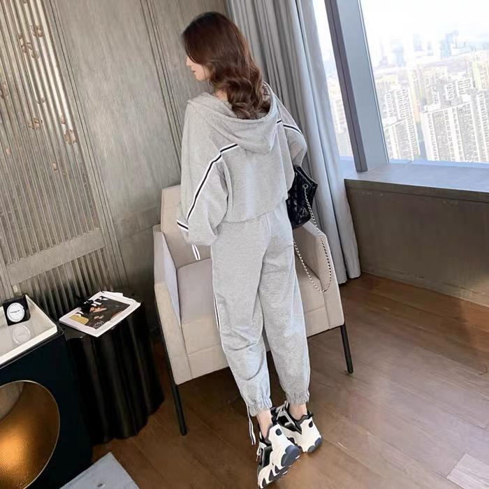 İlkbahar ve Sonbahar Öğrencileri Kore Tarzı Gevşek Şekil Gururlu Spor Seti Bayan Moda Şık Kazak Rahat İki Parçalı Takım Koşu