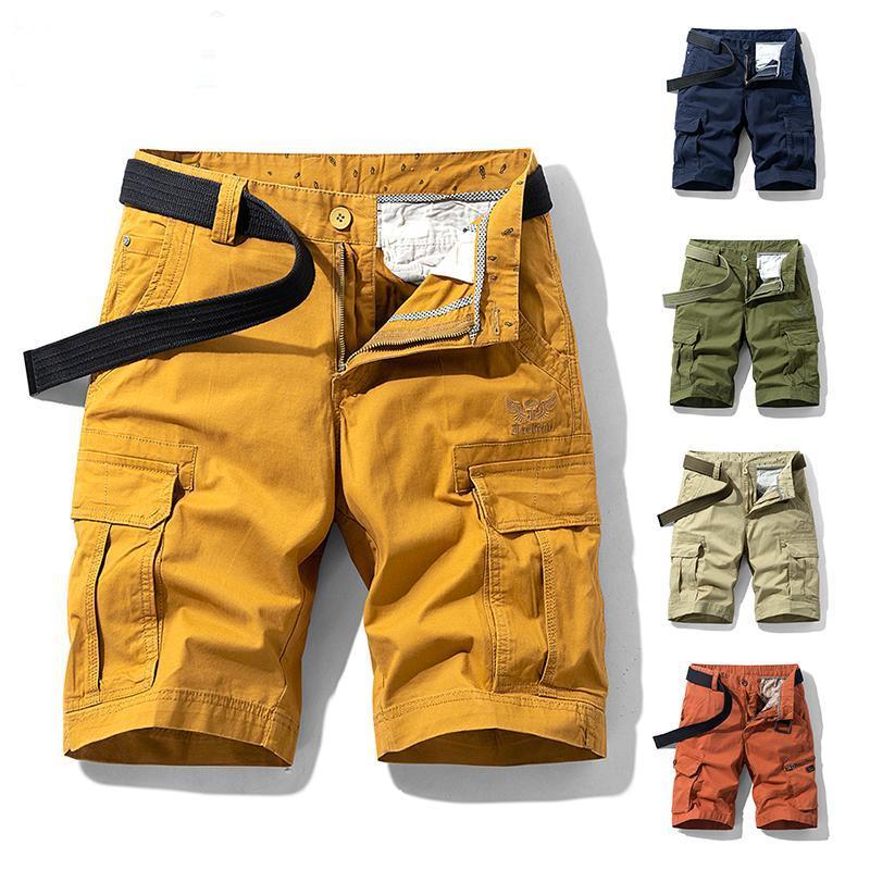 Pantaloncini da uomo 2021 uomini estate tattico tattico cotone cargo tasche tasche tasche casual moda sciolto mimetico 28-38
